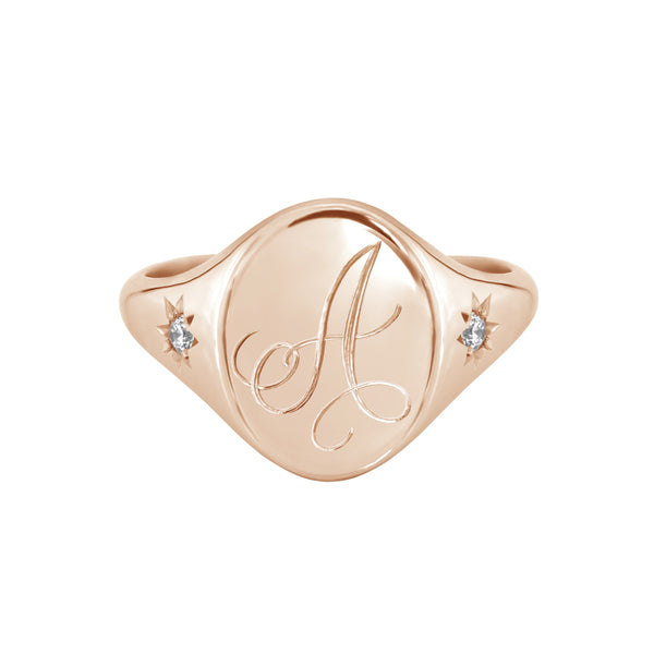 Star Set Diamond Monogram Oval Signet Ring Rose Gold