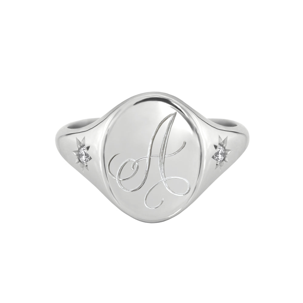Star Set Diamond Monogram Oval Signet Ring White Gold