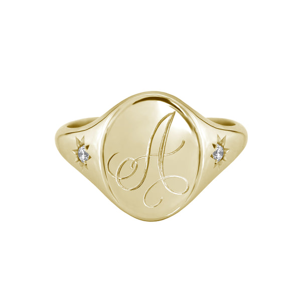 Star Set Diamond Monogram Oval Signet Ring Yellow Gold