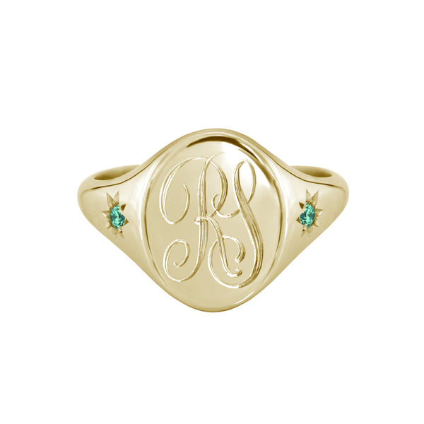 Star Set Emerald Monogram Oval Signet Ring Yellow Gold