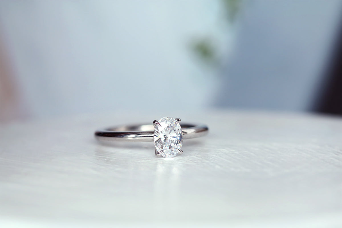 oval diamond ring with white gold band