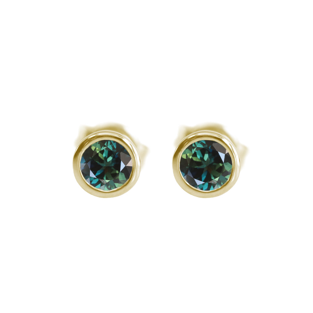 Parti Sapphire Bezel Stud Earrings Yellow Gold