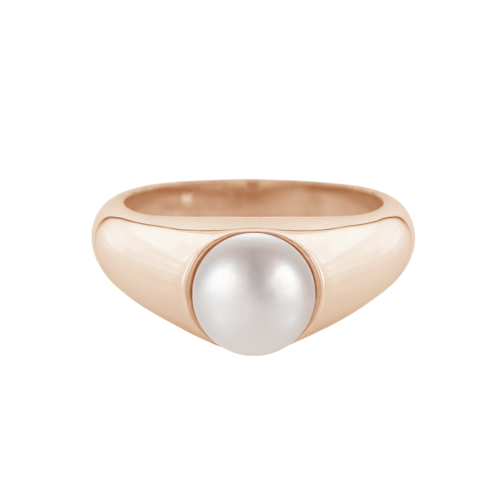 Freshwater Pearl Signet Ring Rose Gold
