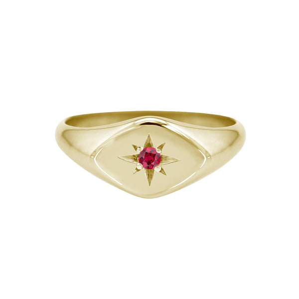 Petite Ruby Signet Ring with Diamond Shaped Face Yellow Gold