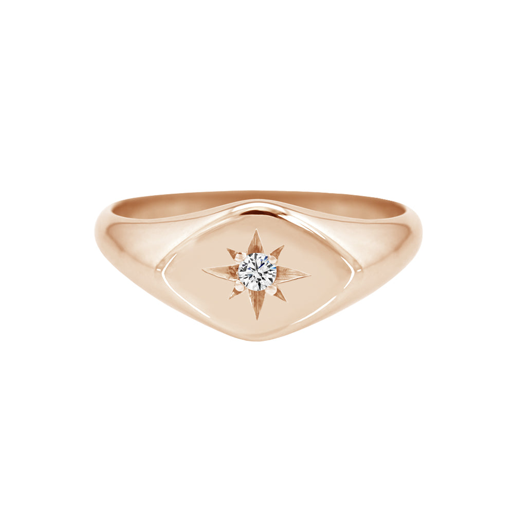 Petite Sideways Diamond Signet Ring Rose Gold