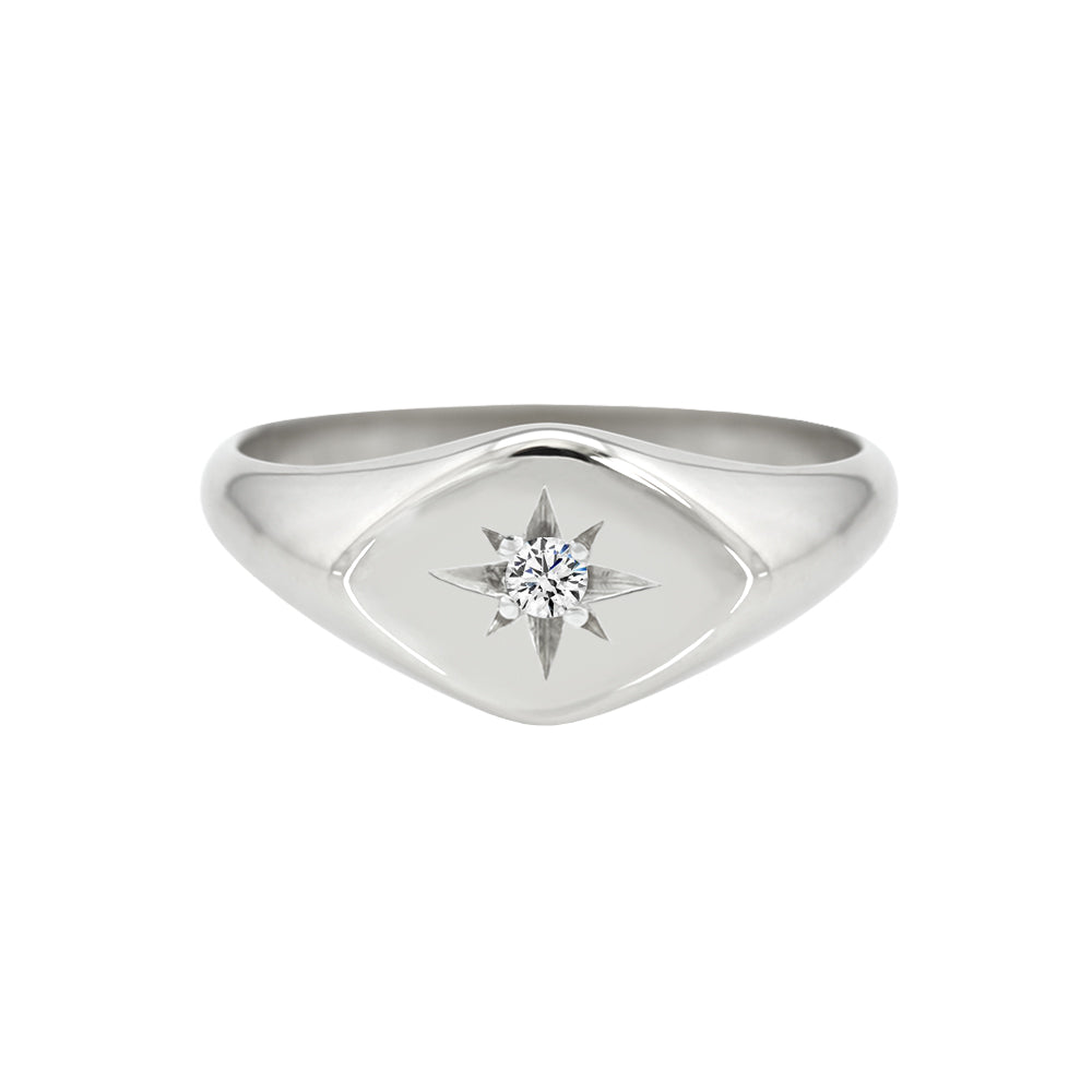 Petite Sideways Diamond Signet Ring White Gold