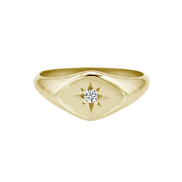 Petite Sideways Diamond Signet Ring Yellow Gold