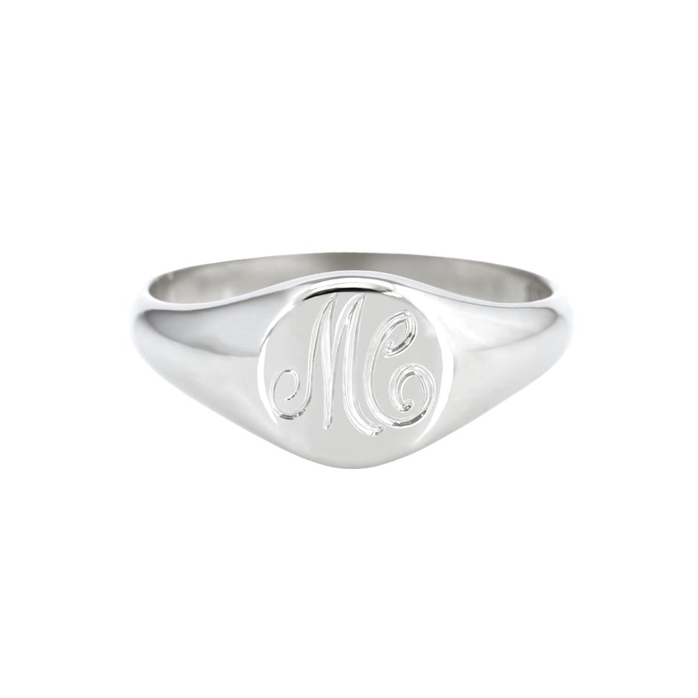 Petite Initial Signet Ring White Gold