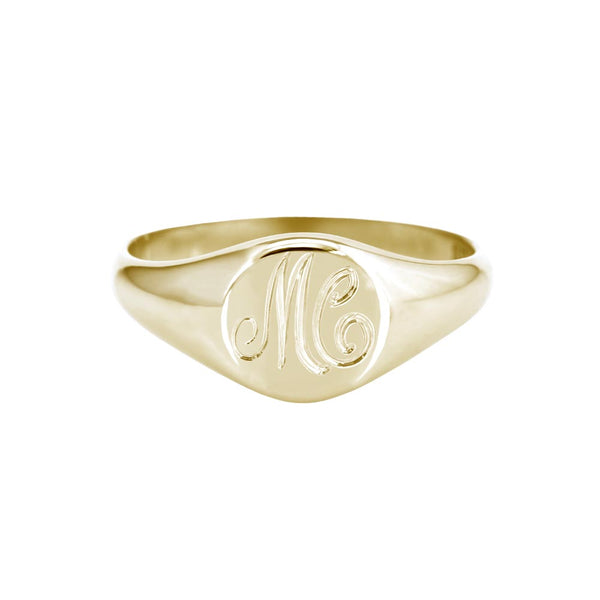 Petite Initial Signet Ring Yellow Gold