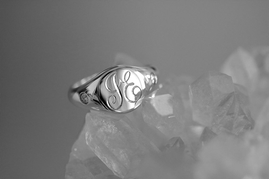 Petite Initial Signet Ring with Side Diamonds White Gold