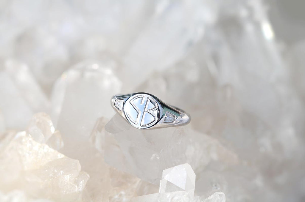 Petite Initial Signet Ring with Tapered Baguette Diamonds White Gold
