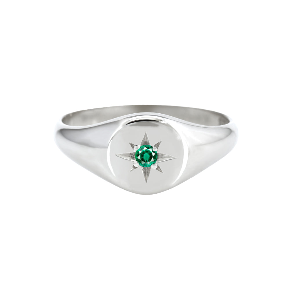 Petite Star Set Emerald Signet Ring White Gold