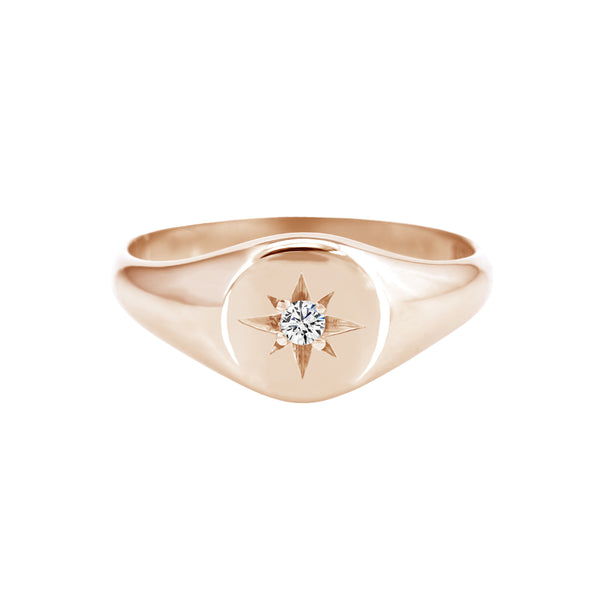 rose gold signet ring with star set diamond