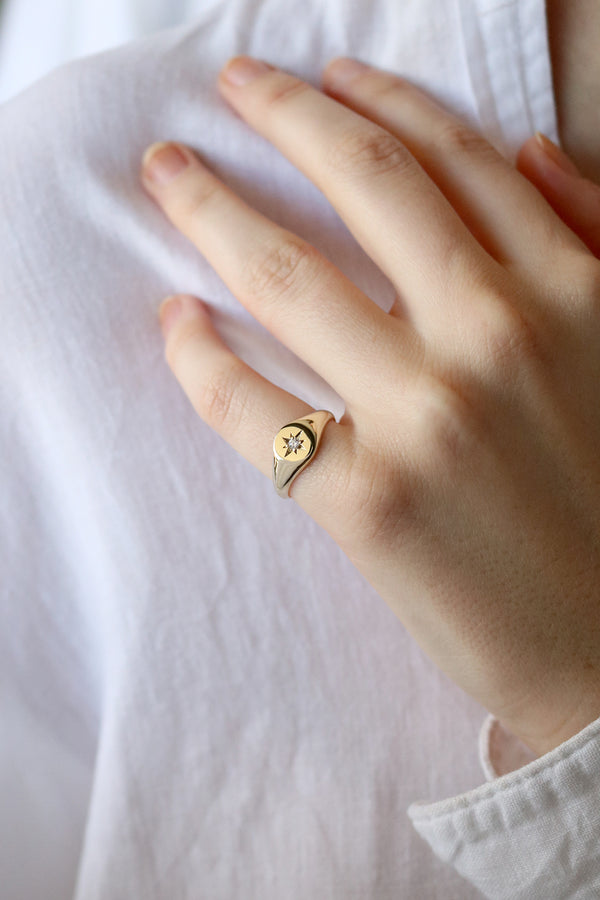 Petite Star Set Diamond Signet Ring Yellow Gold