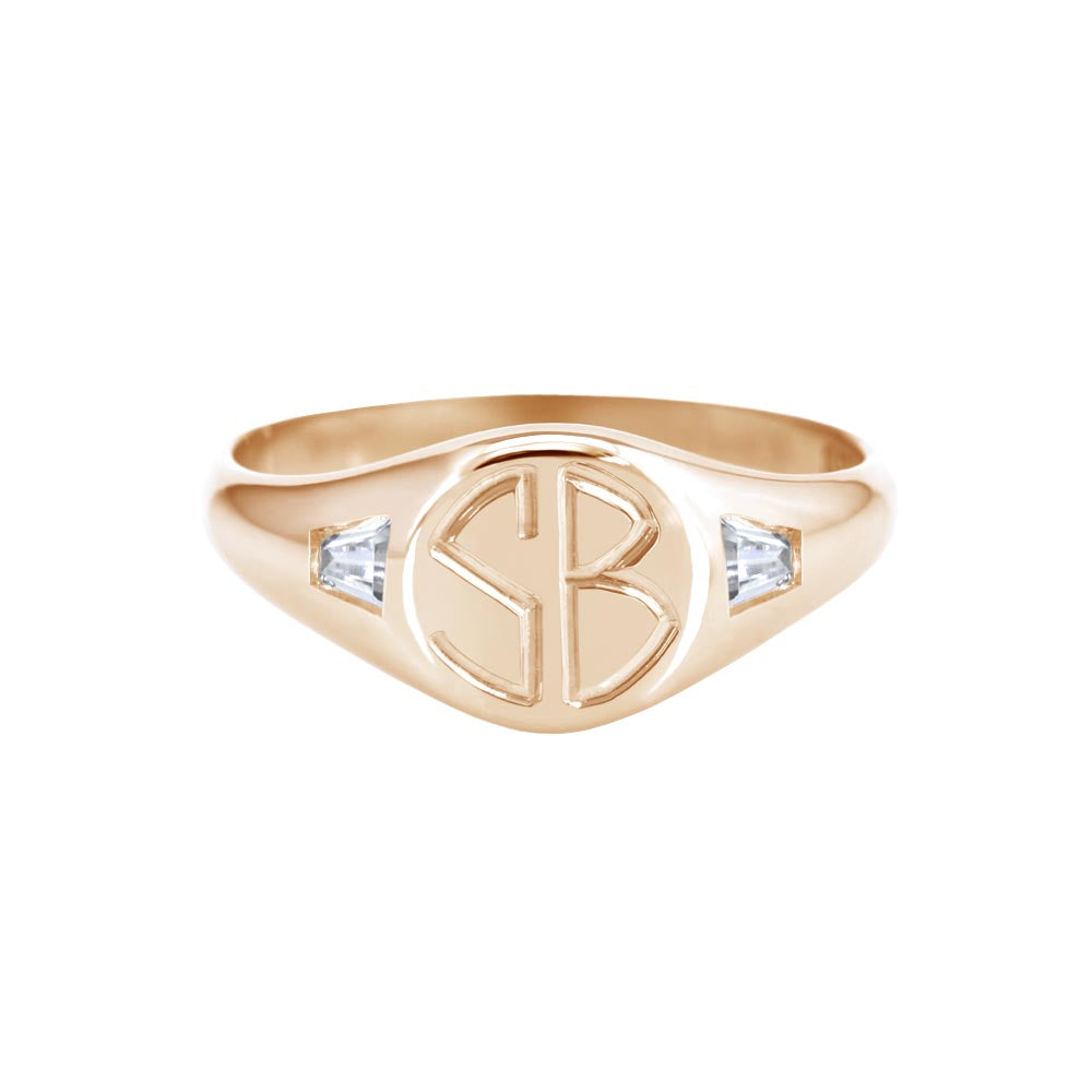 Petite Initial Signet Ring with Tapered Baguette Diamonds Rose Gold