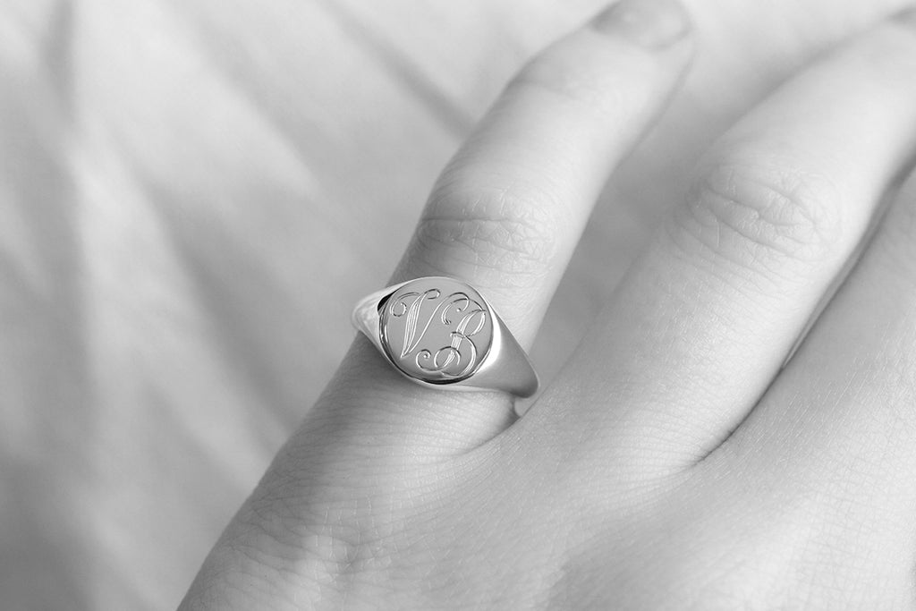 monogrammed signet ring with script engraving