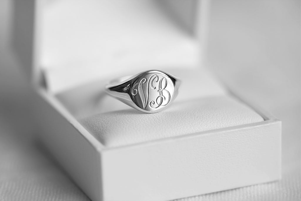 monogram signet ring with round face