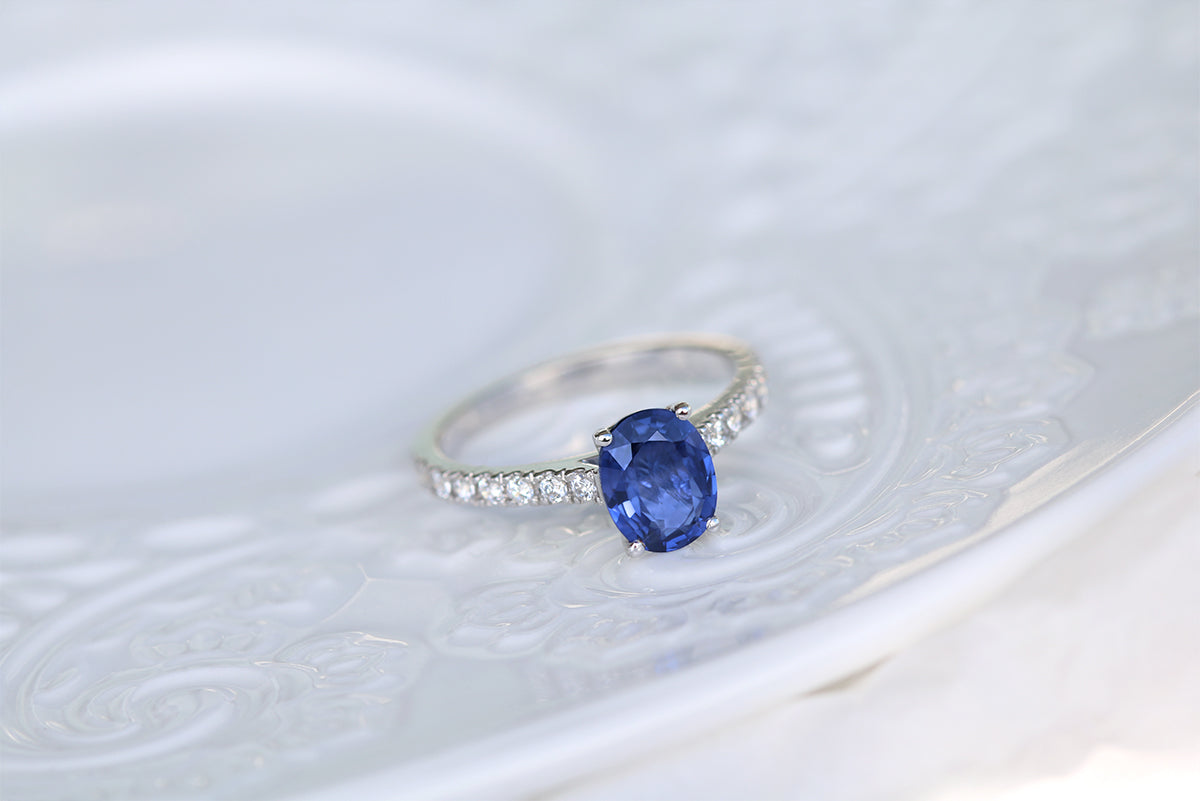 Blue Sapphire Engagement Ring Diamond Band