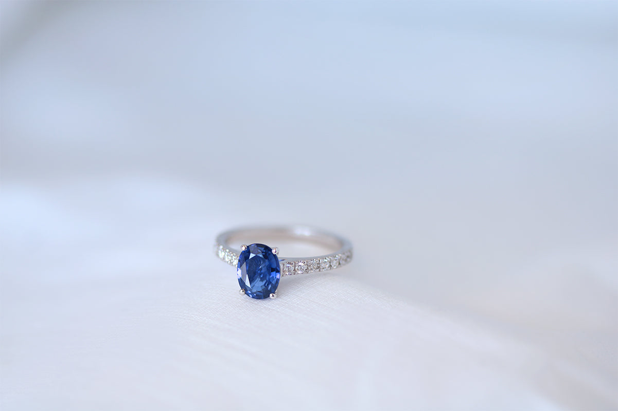 Blue Sapphire Solitaire Engagement Ring with Diamond Band