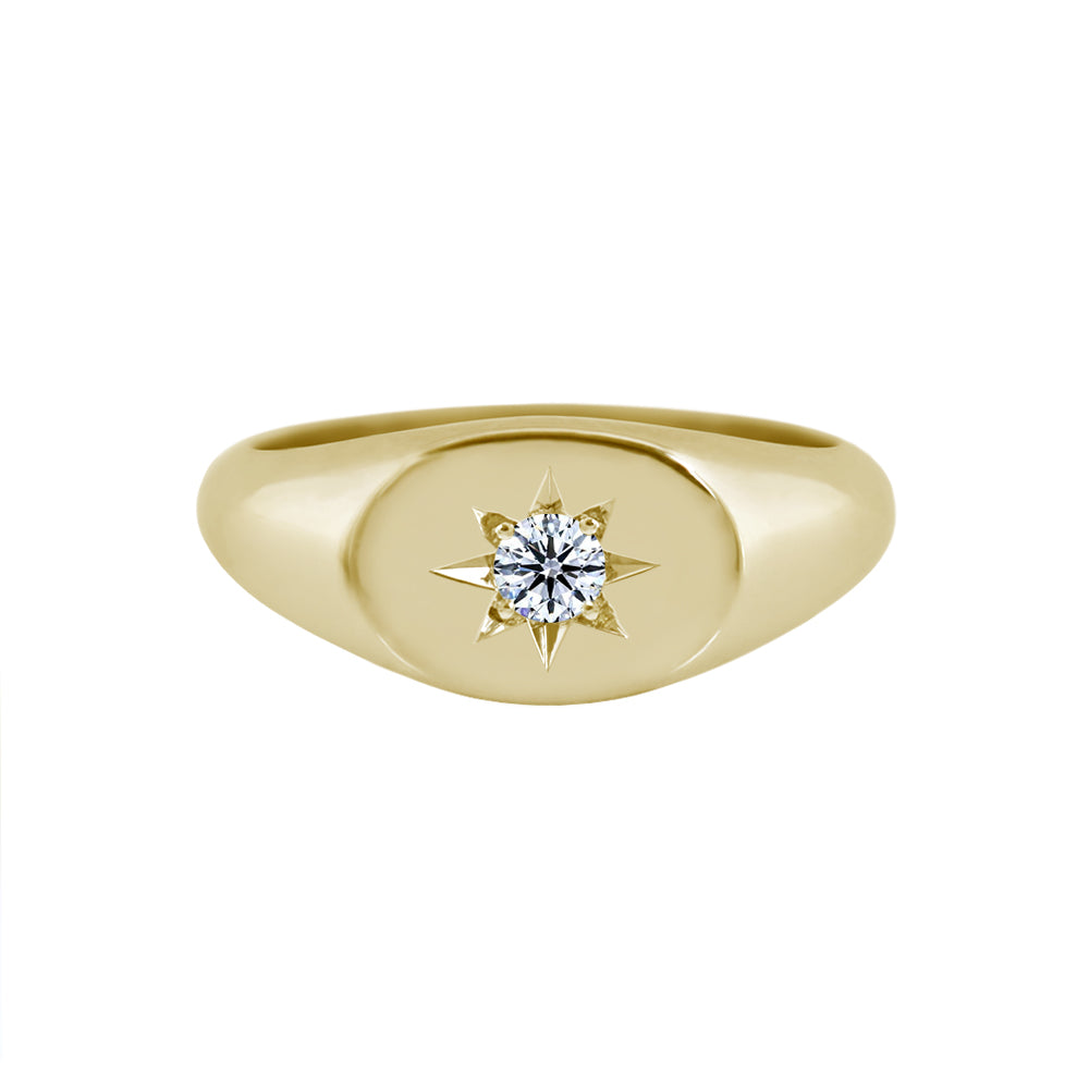 Sideways Oval Signet Ring with Star Set Diamond Yellow Gold
