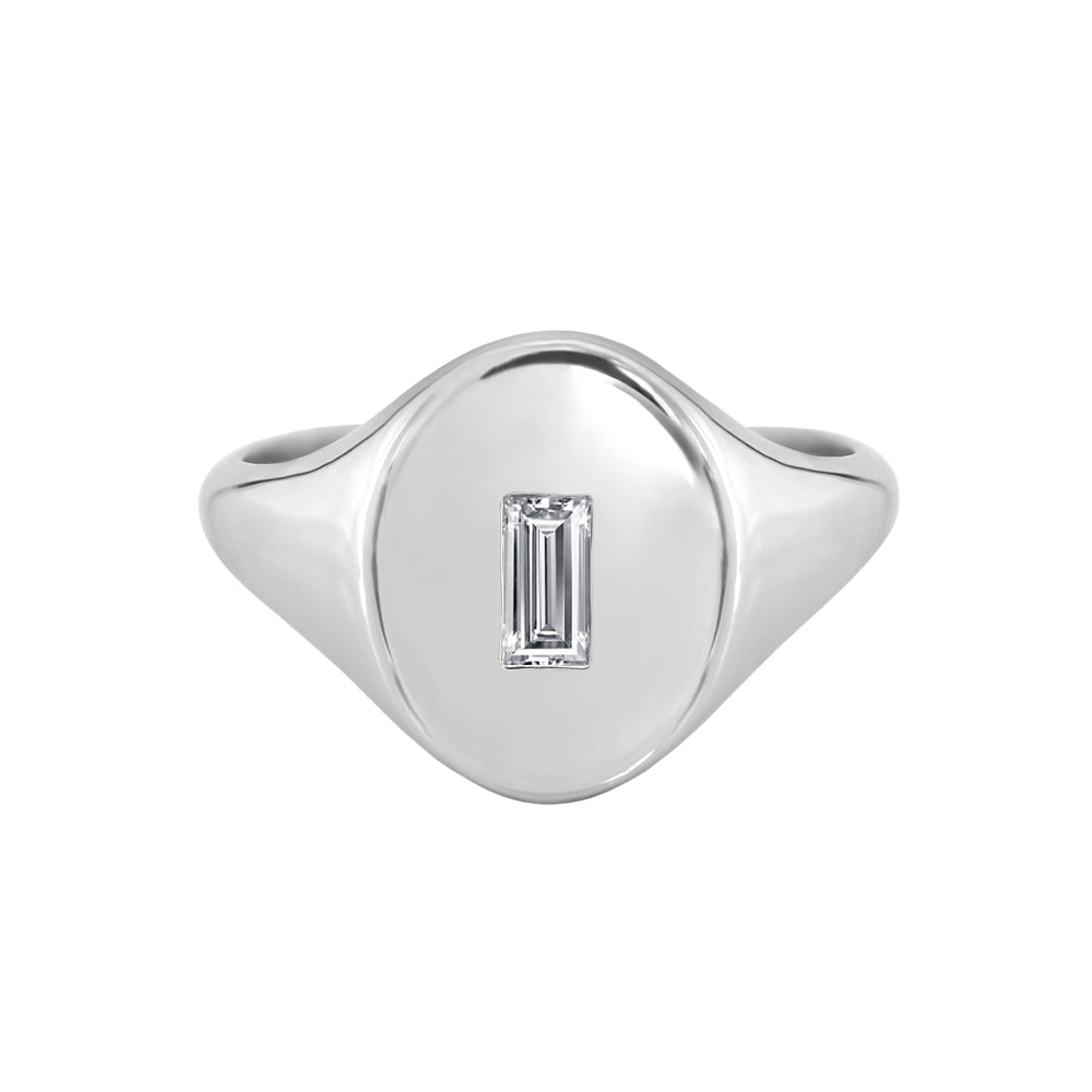 Baguette Diamond Signet Ring White Gold