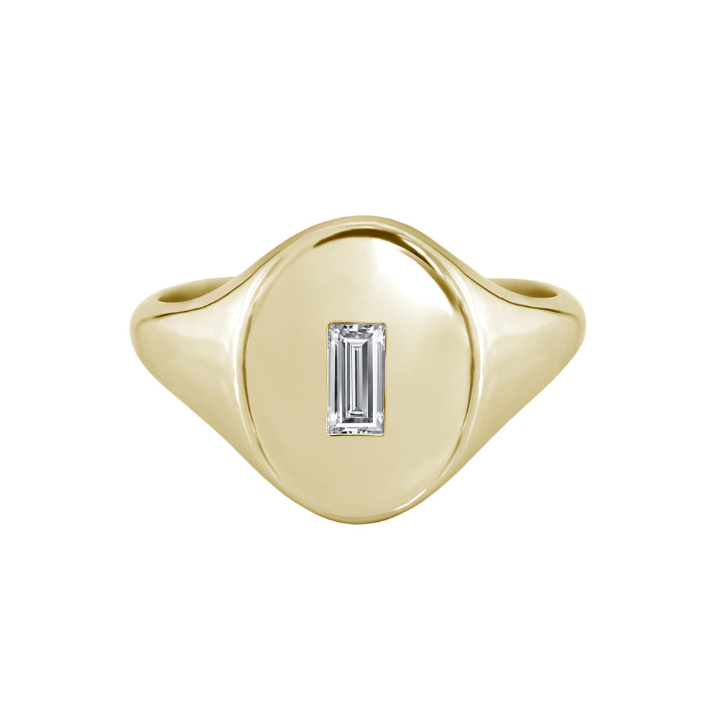 Baguette Diamond Signet Ring Yellow Gold