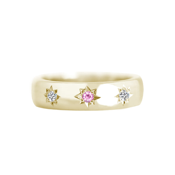 Star Set Pink Sapphire and Diamond 4.5mm Wide Band Ring Yellow Gold