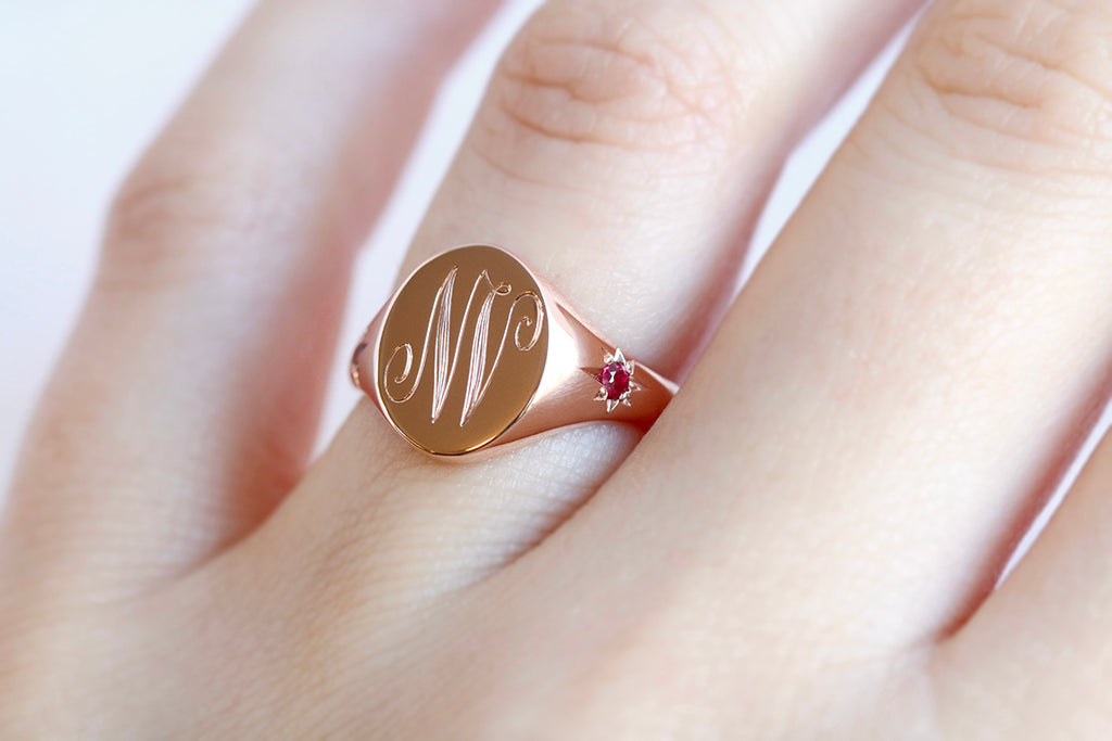 Star Set Ruby Monogram Oval Signet Ring Rose Gold