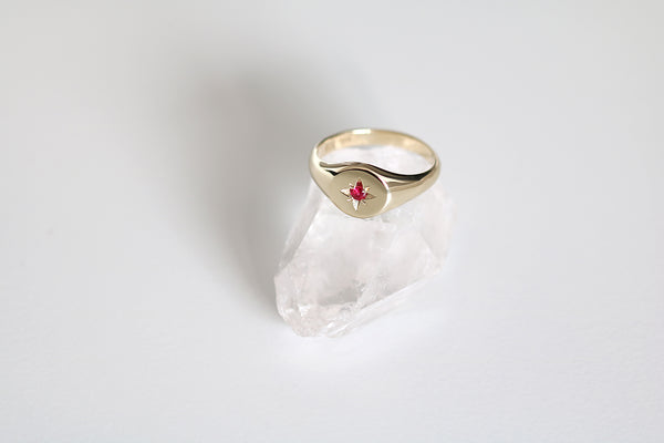 Petite Star Set Ruby Signet Ring Yellow Gold