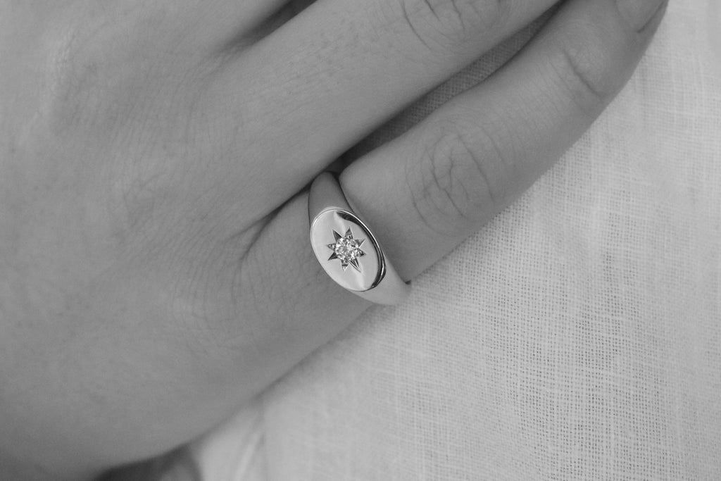 Sideways Oval Signet Ring with Star Set Diamond White Gold