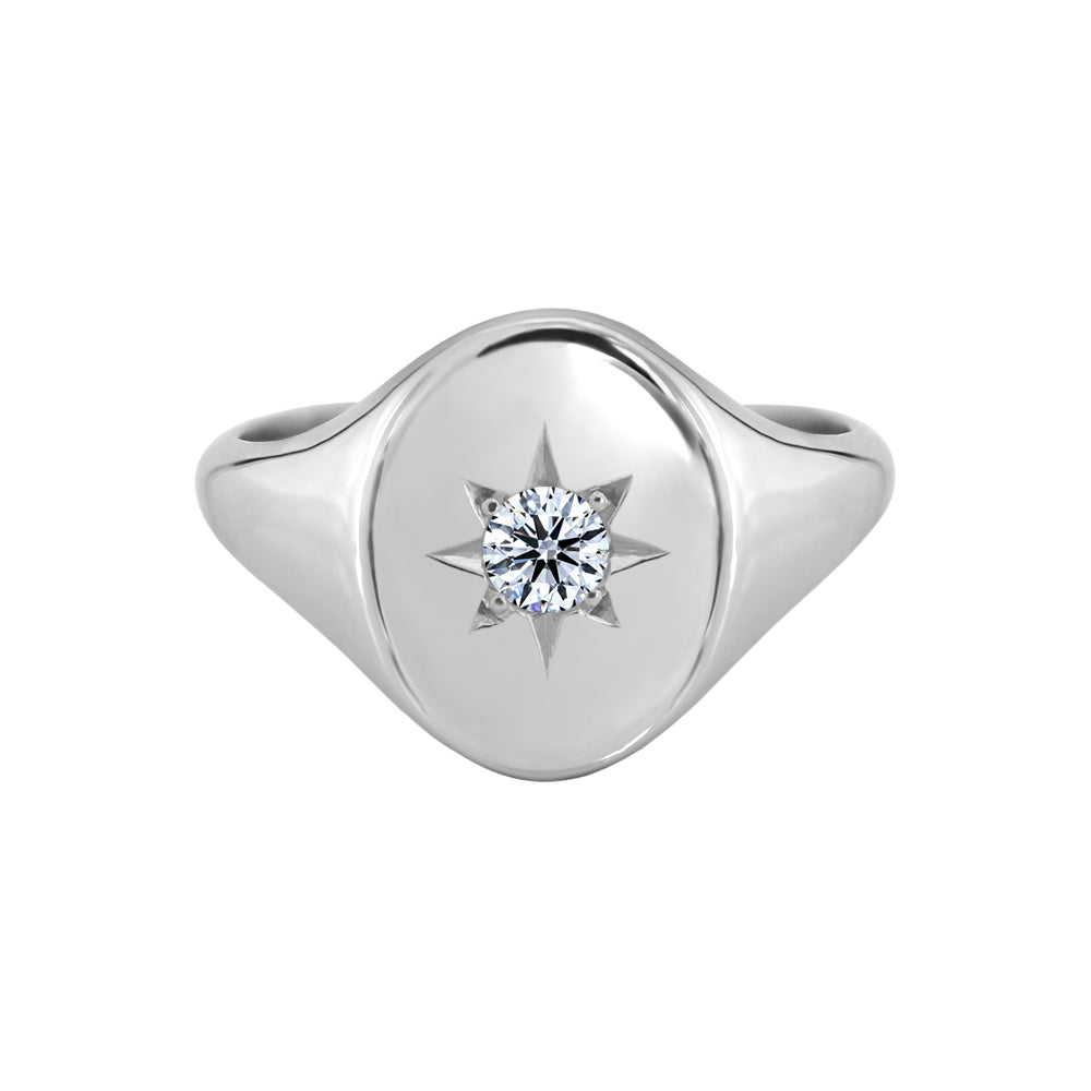 Star Set Signet Ring White Gold
