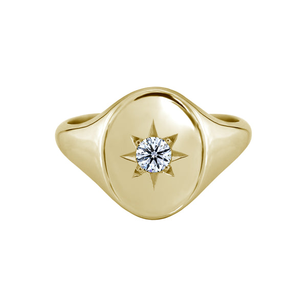 Star Set Signet Ring Yellow Gold