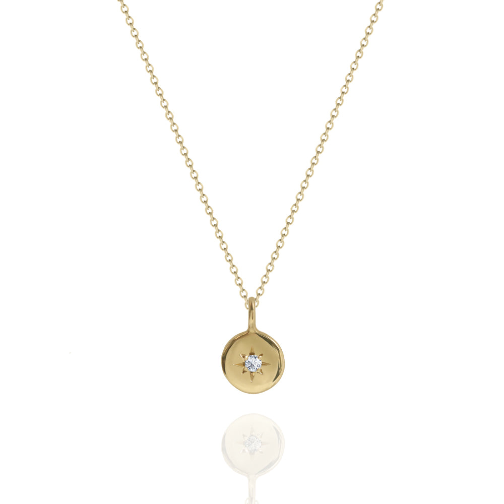 Star Set Diamond Round Necklace Yellow Gold