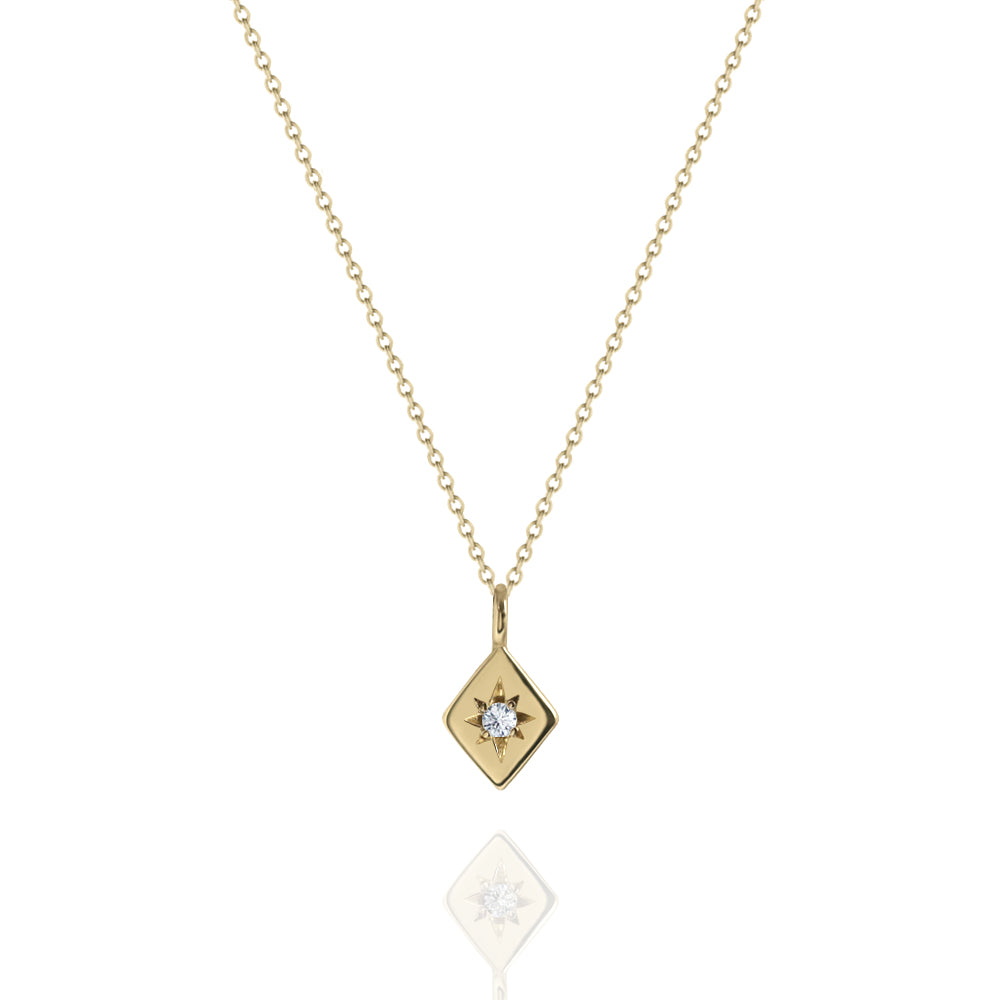 Star Set Diamond Necklace Yellow Gold