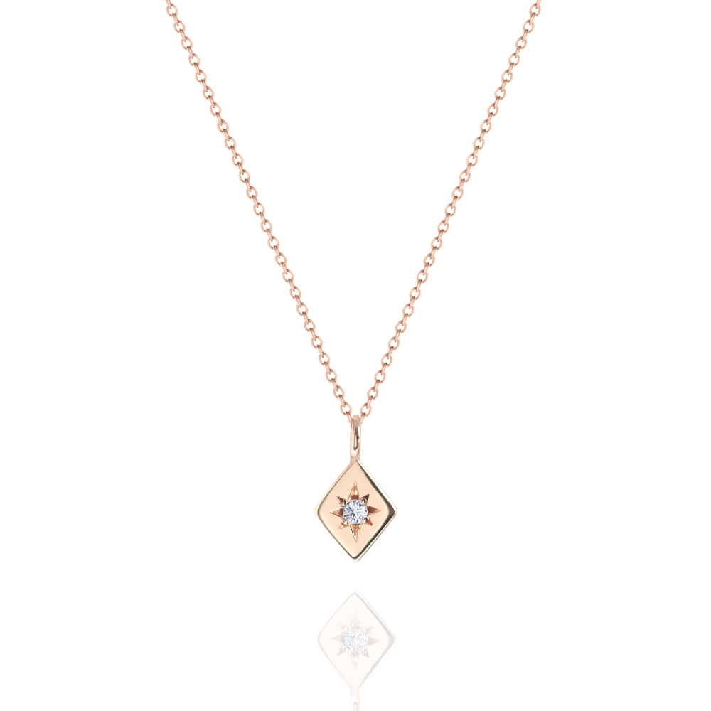 Star Set Diamond Necklace Rose Gold