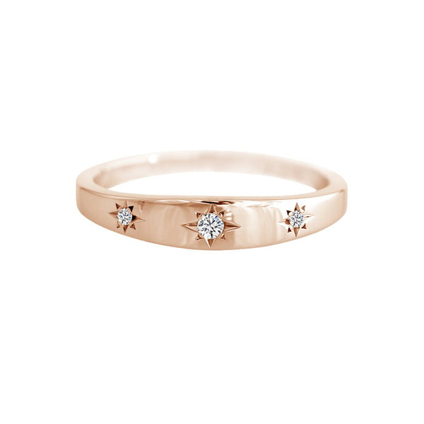 Star Set Diamond Trilogy Band Rose Gold