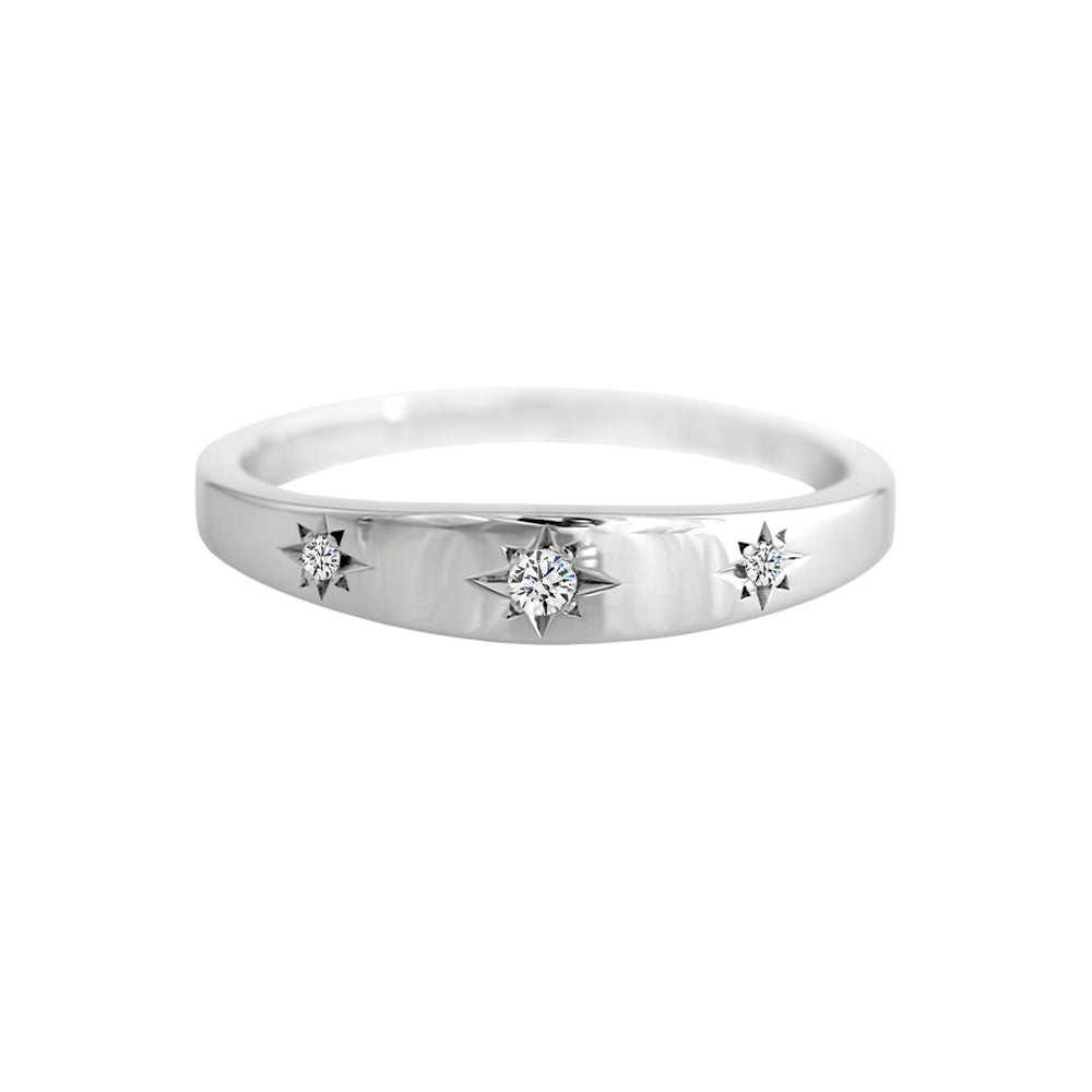 Star Set Diamond Trilogy Band White Gold