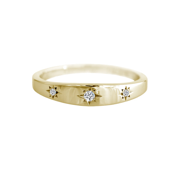 Star Set Diamond Trilogy Band Yellow Gold