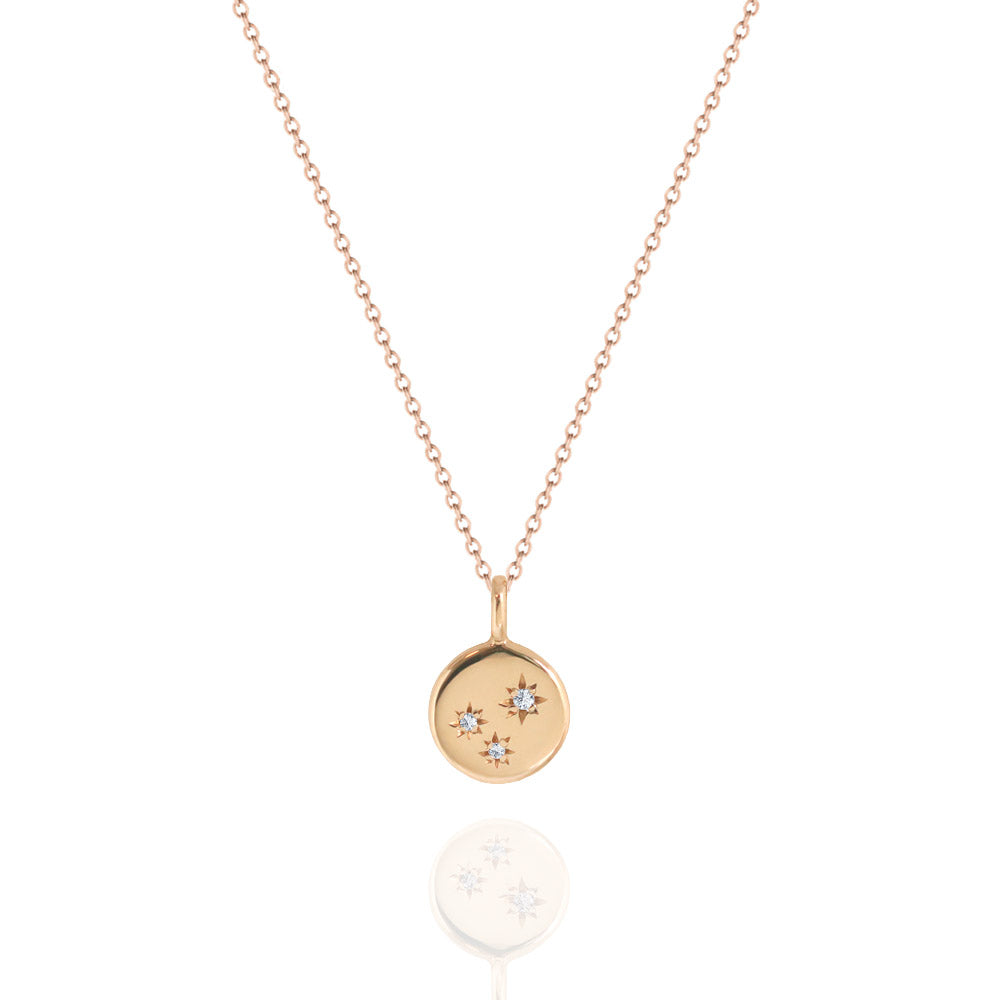 Triple Star Set Diamond Necklace Rose Gold