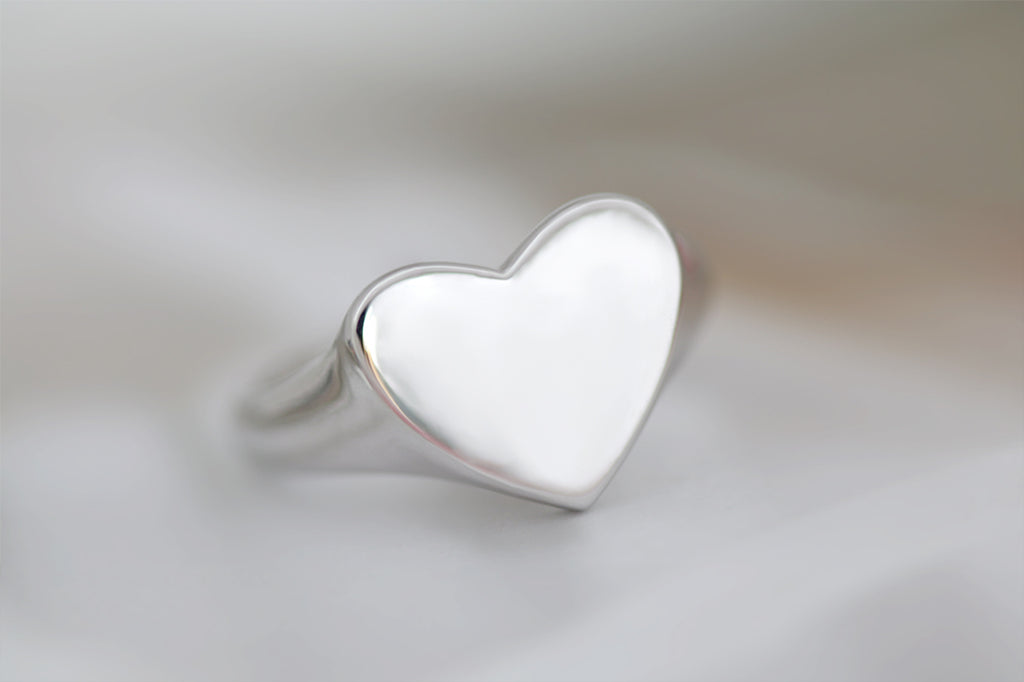 Heart Signet Ring White Gold