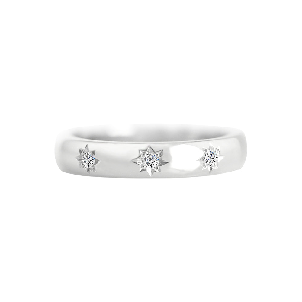 Star Set Diamond 3.5mm Wide Band Ring White Gold