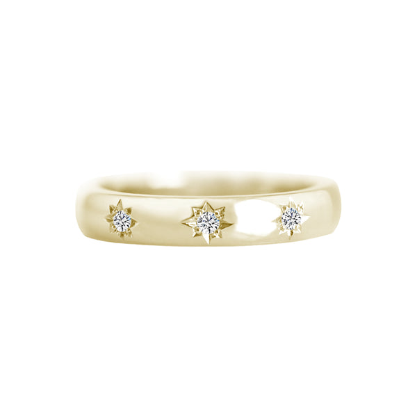 Star Set Diamond 3.5mm Wide Band Ring Yellow Gold