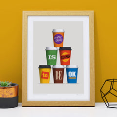 Caffeination Affirmation Art Print by Glenn Jones