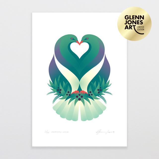 Kereru Love - Limited Edition Art Print-Glenn Jones Art