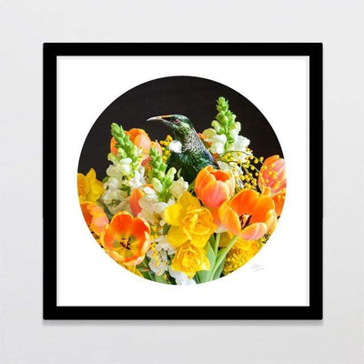 Glenn Jones Art Bouquet Tui Photo Print Art Print A3 Square 297 x 297mm / Black Frame