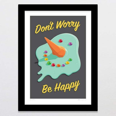 Glenn Jones Art Be Happy Art Print Art Print A4 Print / Black Frame