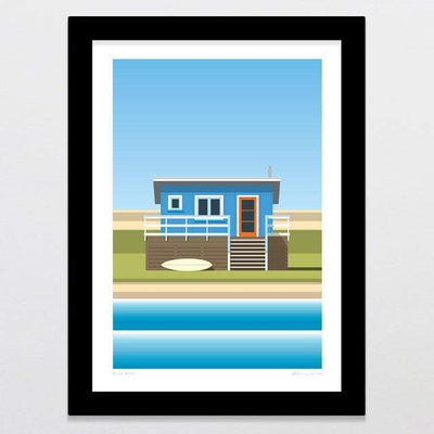 Glenn Jones Art Blue Bach Art Print Art Print A4 Print / Black Frame