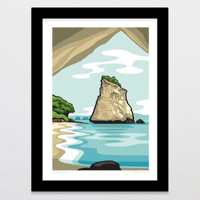 Glenn Jones Art Cathedral Cove Art Print Art Print A4 Print / Black Frame