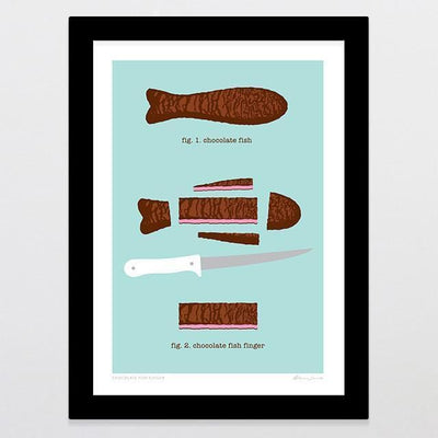 Chocolate Fish Finger Art Print-Glenn Jones Art