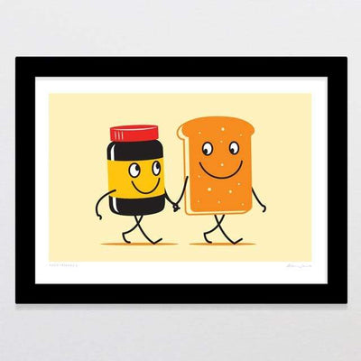 Glenn Jones Art Food Friends 3 Art Print Art Print A4 Print / Black Frame